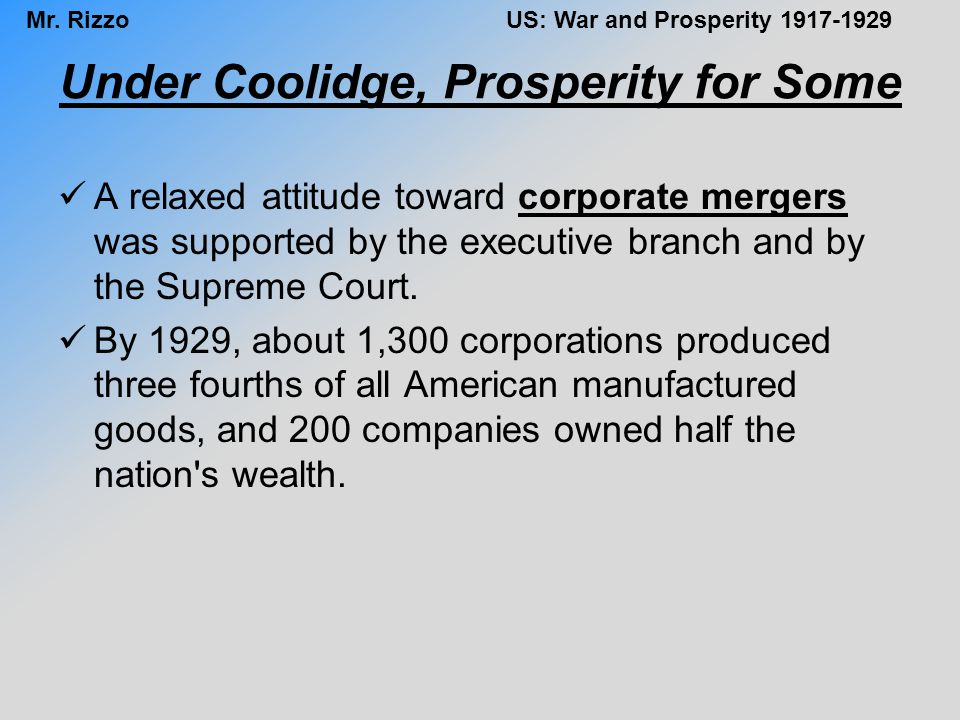 Under Coolidge, Prosperity for Some