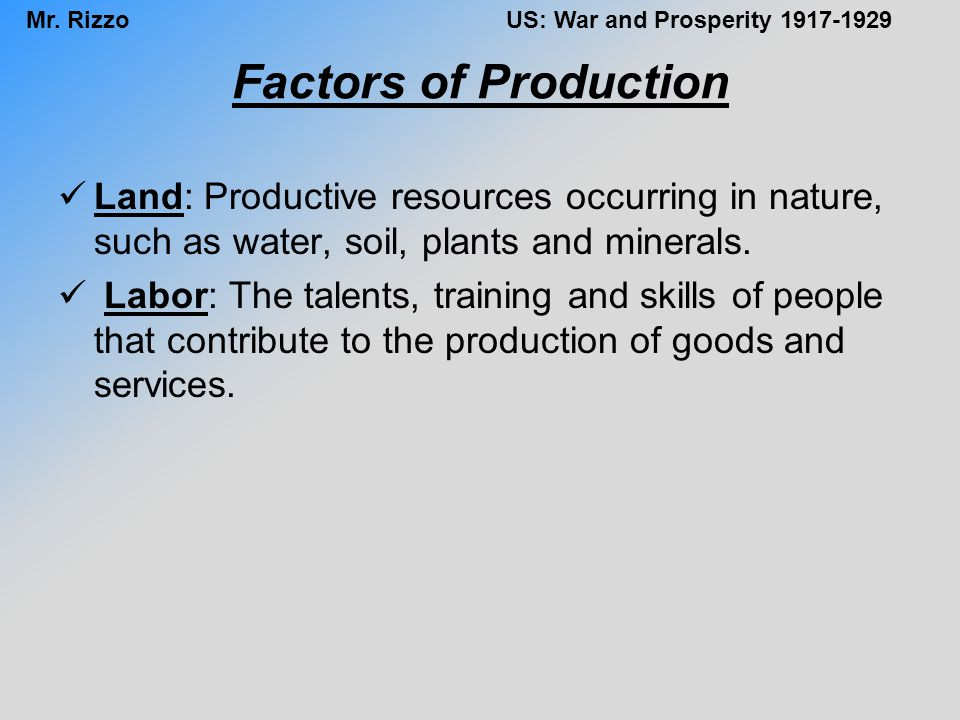 Factors of Production Land: Productive resources occurring in nature, such as water, soil, plants and minerals.