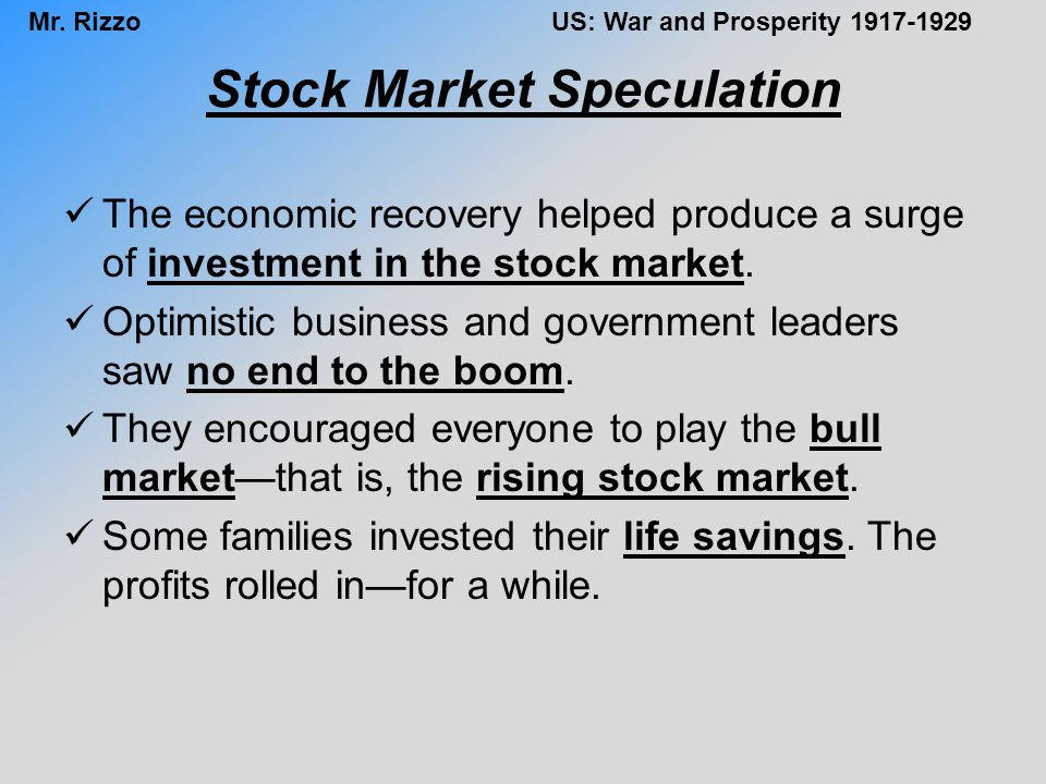 Stock Market Speculation
