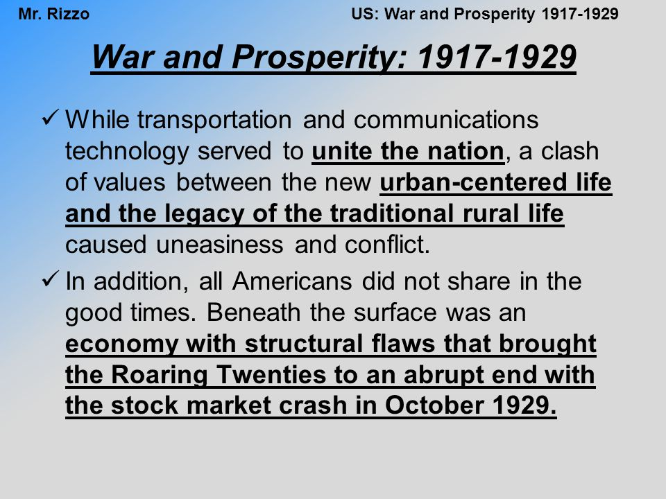 War and Prosperity: 1917-1929