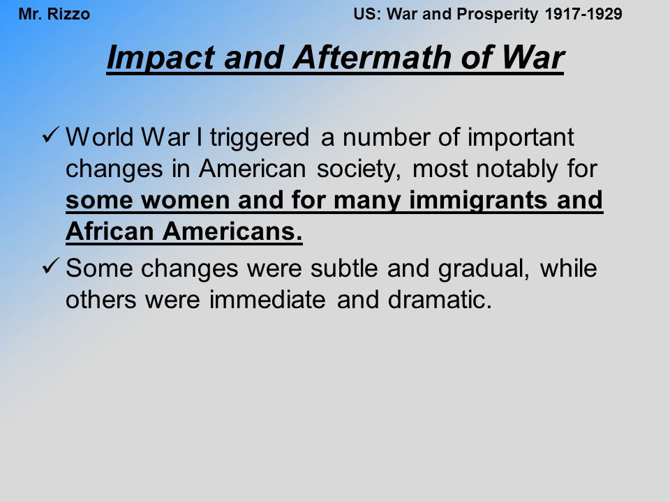 Impact and Aftermath of War