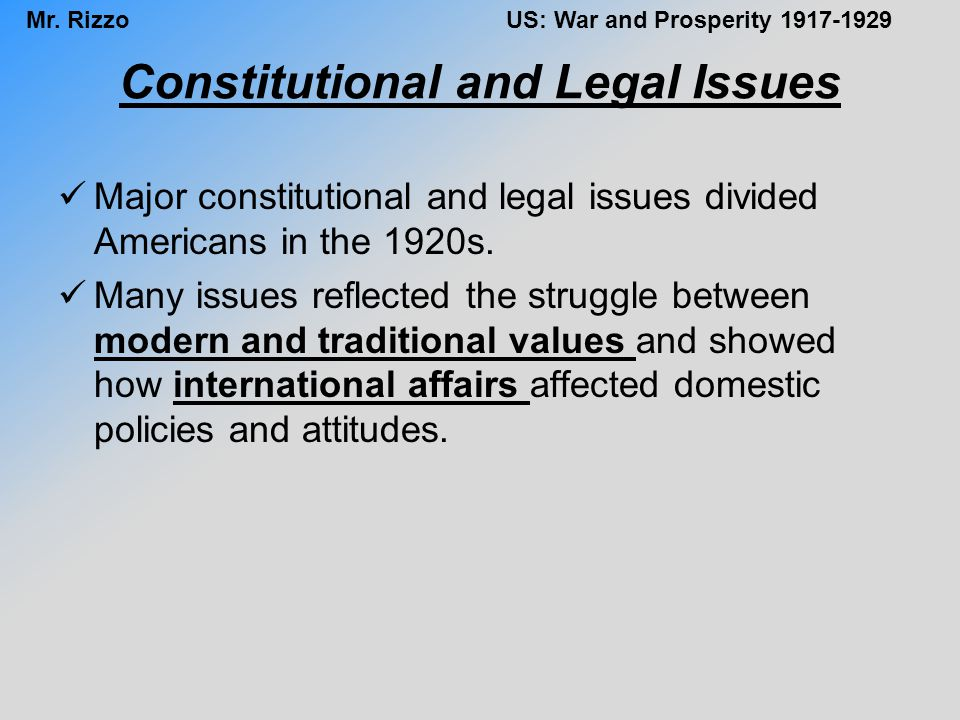 Constitutional and Legal Issues