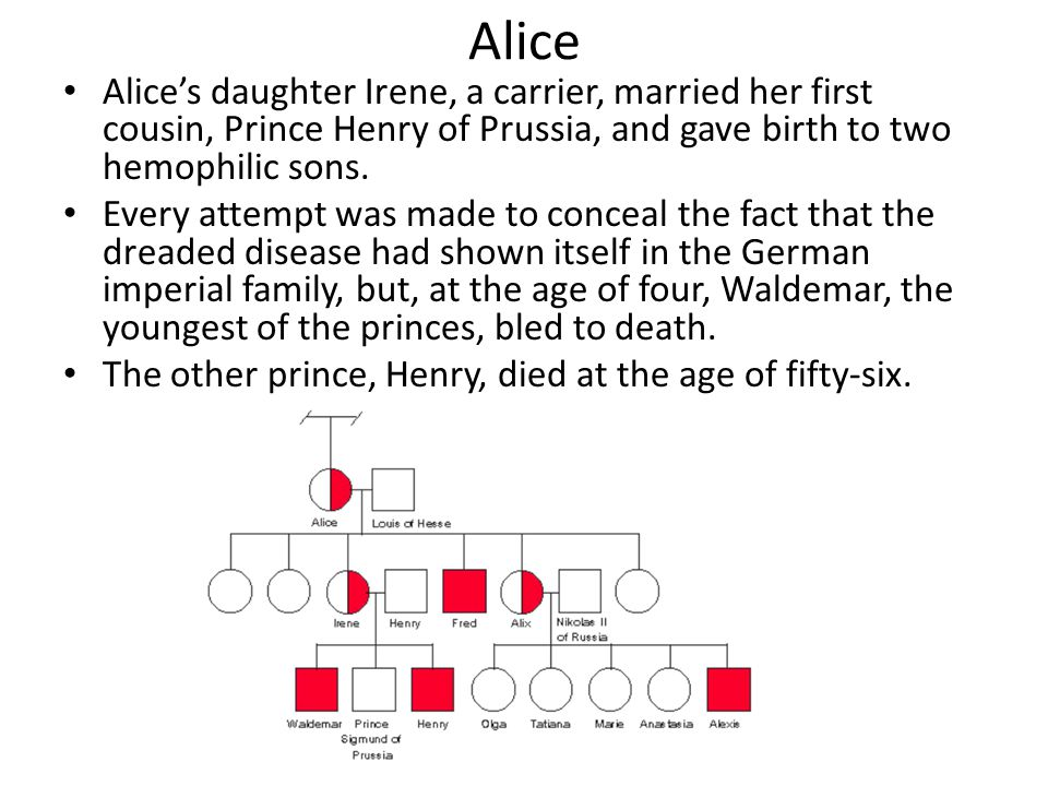 Alice Alice's daughter Irene, a carrier, married her first cousin, Prince Henry of Prussia, and gave birth to two hemophilic sons.