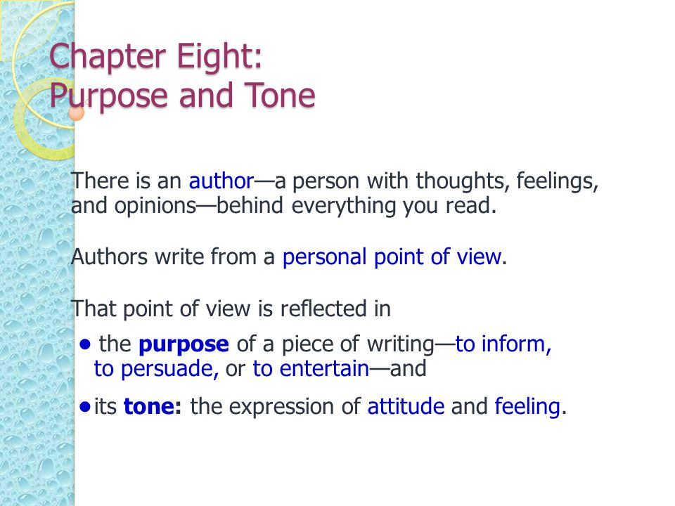 Chapter Eight: Purpose and Tone
