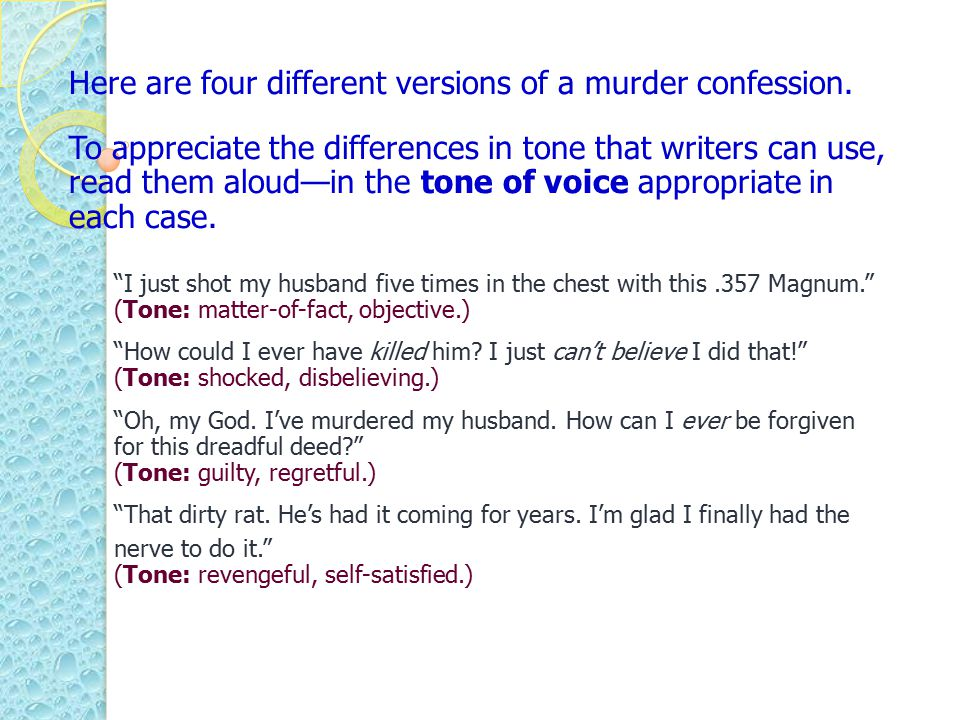 Here are four different versions of a murder confession.