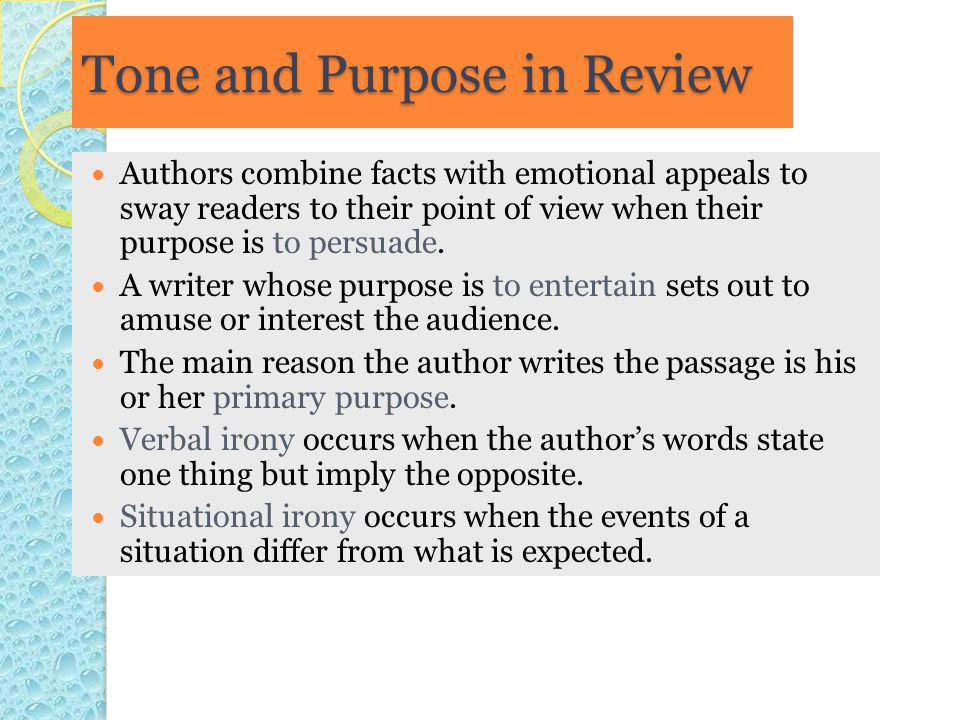 Tone and Purpose in Review