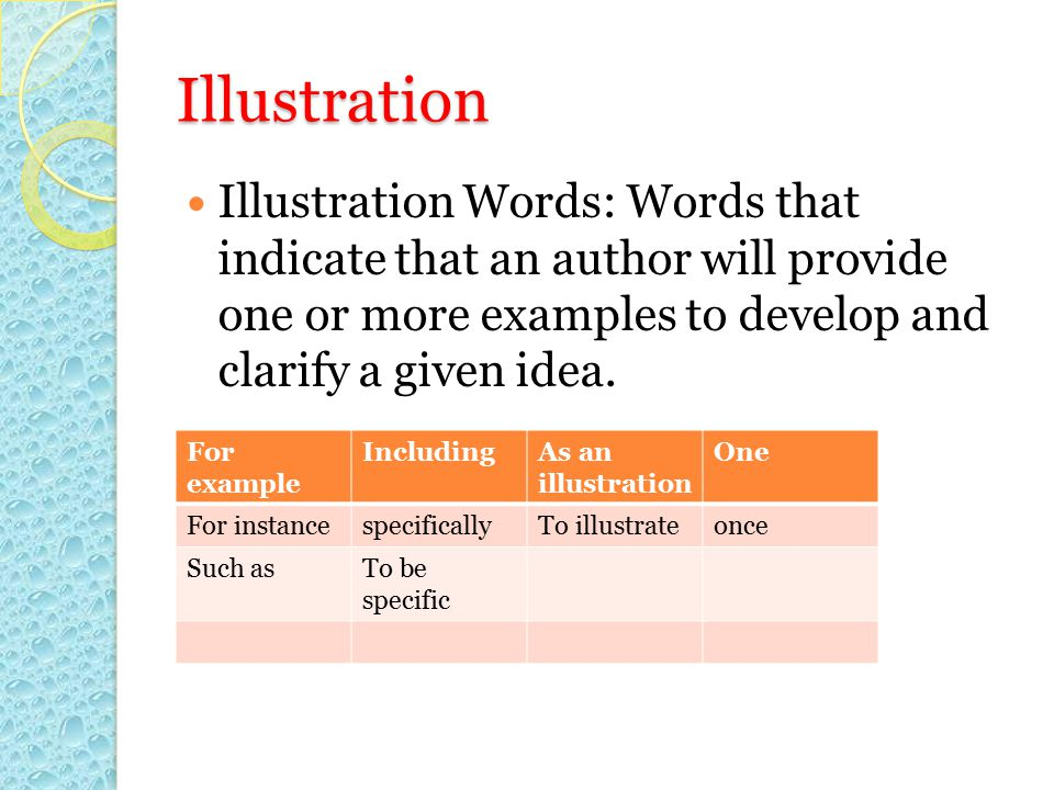 Illustration Illustration Words: Words that indicate that an author will provide one or more examples to develop and clarify a given idea.