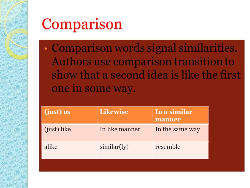 Comparison Comparison words signal similarities. Authors use comparison transition to show that a second idea is like the first one in some way.