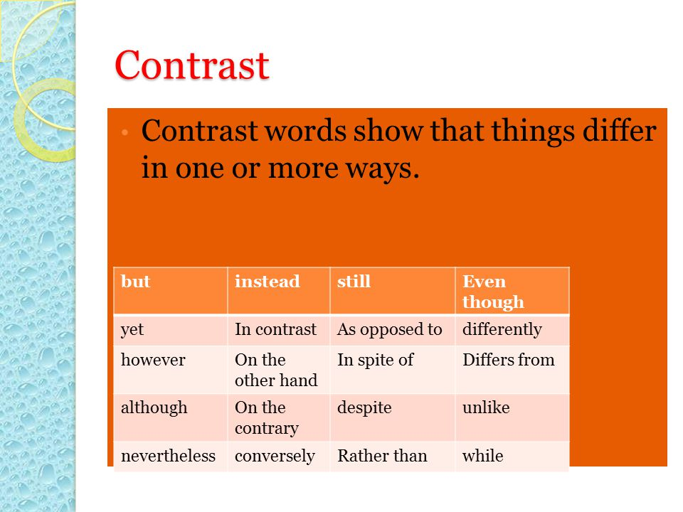 Contrast Contrast words show that things differ in one or more ways.