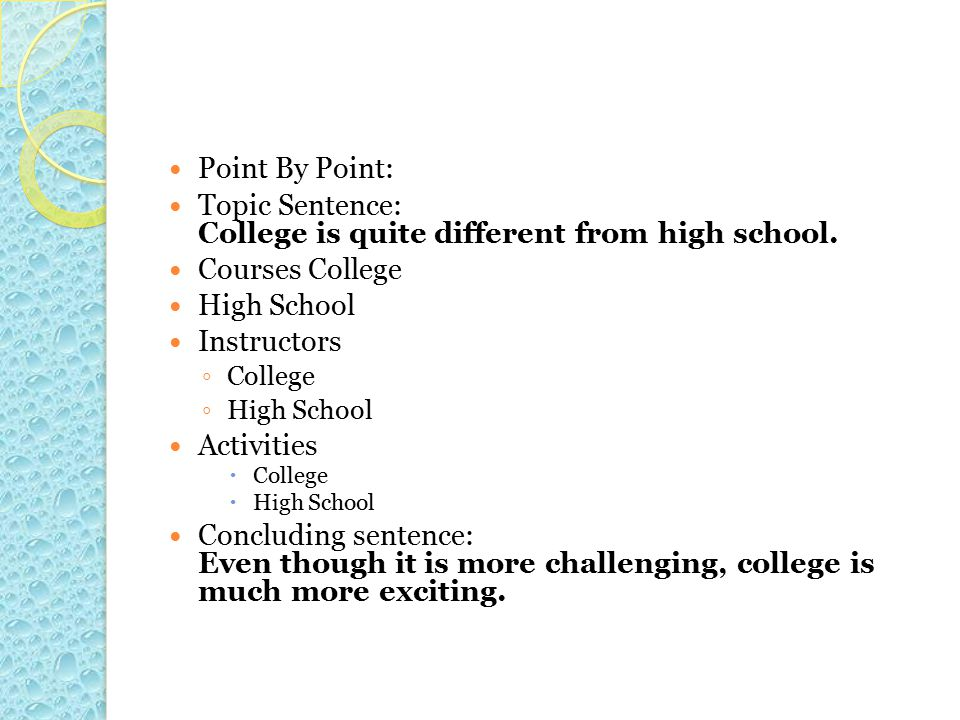 Topic Sentence: College is quite different from high school.