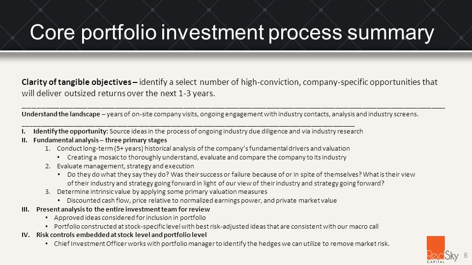 Core portfolio investment process summary