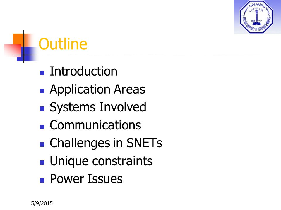 Outline Introduction Application Areas Systems Involved Communications