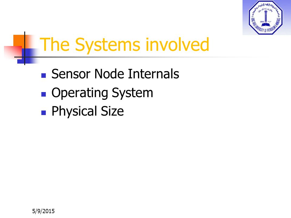 The Systems involved Sensor Node Internals Operating System