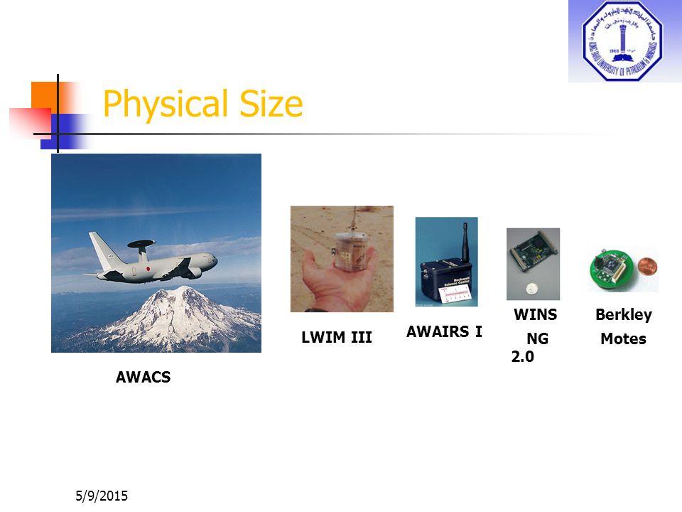 Physical Size WINS NG 2.0 Berkley Motes AWAIRS I LWIM III AWACS