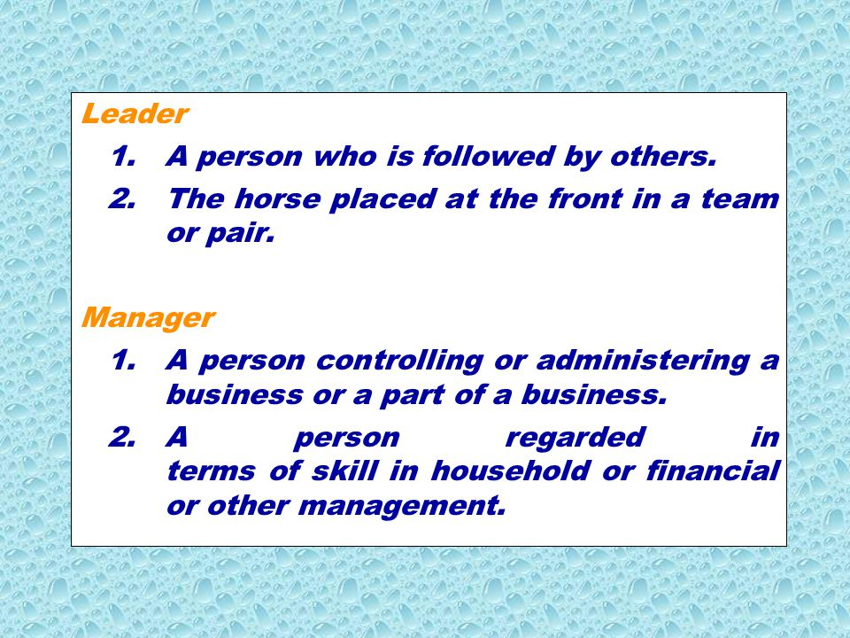 Leader 1. A person who is followed by others. 2. The horse placed at the front in a team or pair.
