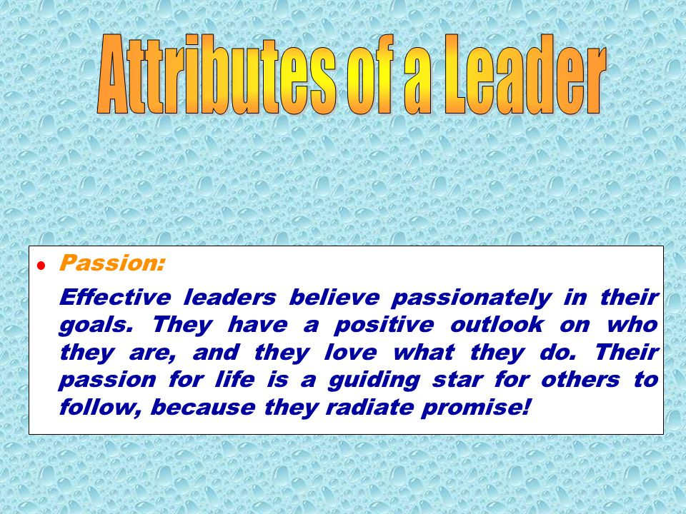 Attributes of a Leader Passion: