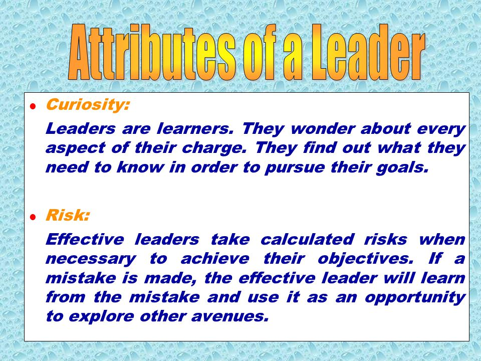 Attributes of a Leader Curiosity: