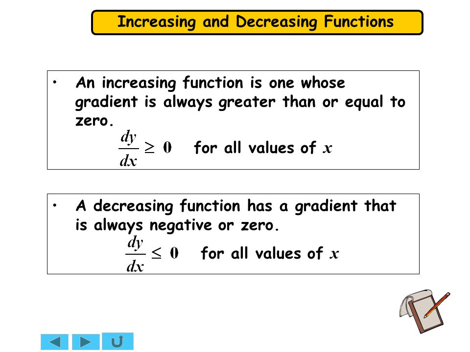 An increasing function is one whose gradient is always greater than or equal to zero.