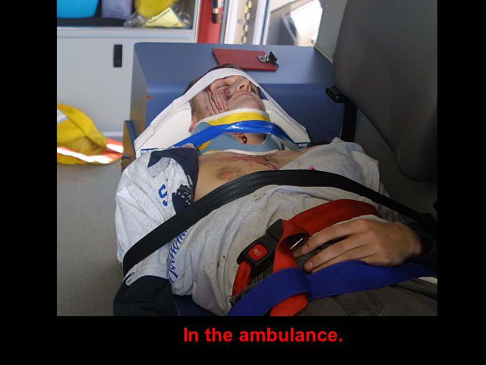 In the ambulance.