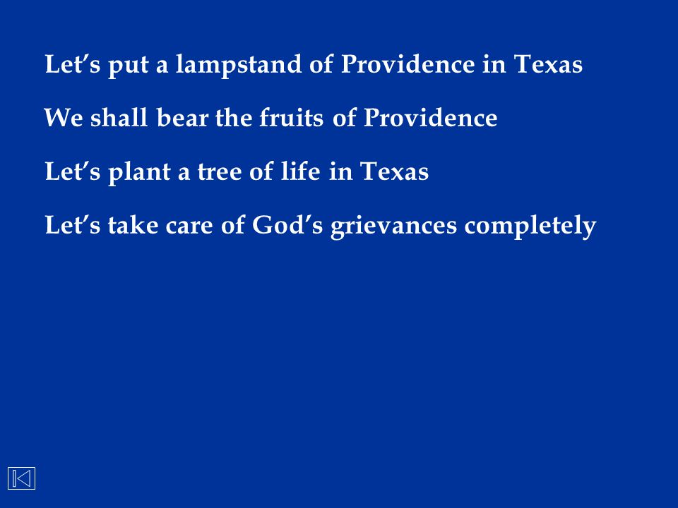 Let's put a lampstand of Providence in Texas