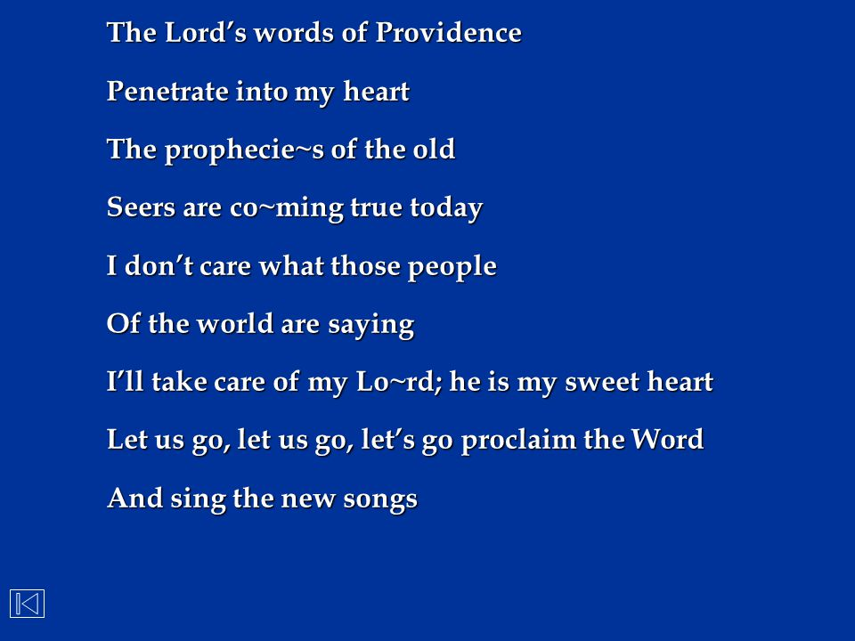 The Lord's words of Providence
