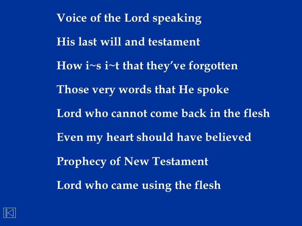 Voice of the Lord speaking