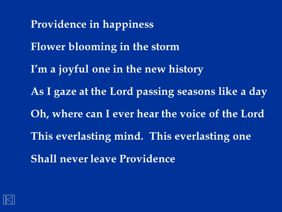 Providence in happiness