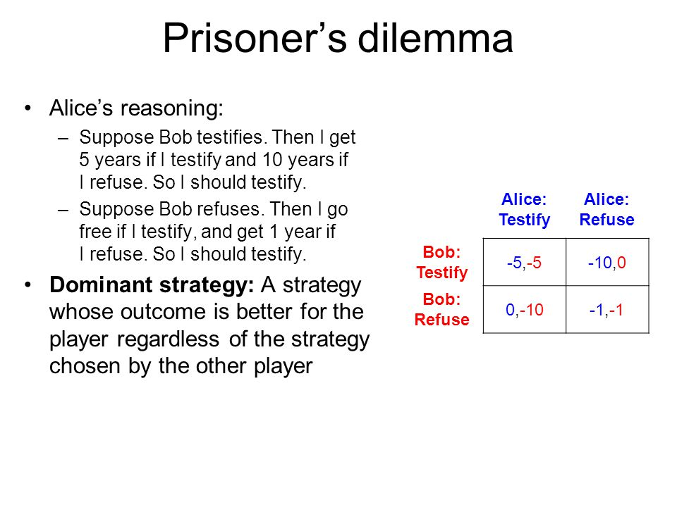 Prisoner's dilemma Alice's reasoning: