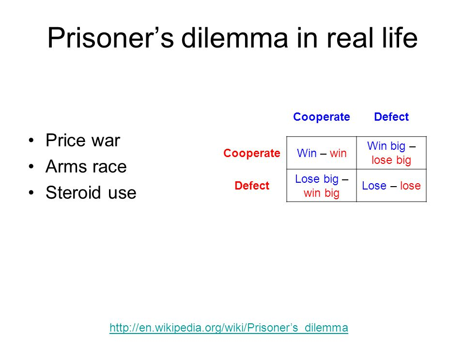 Prisoner's dilemma in real life