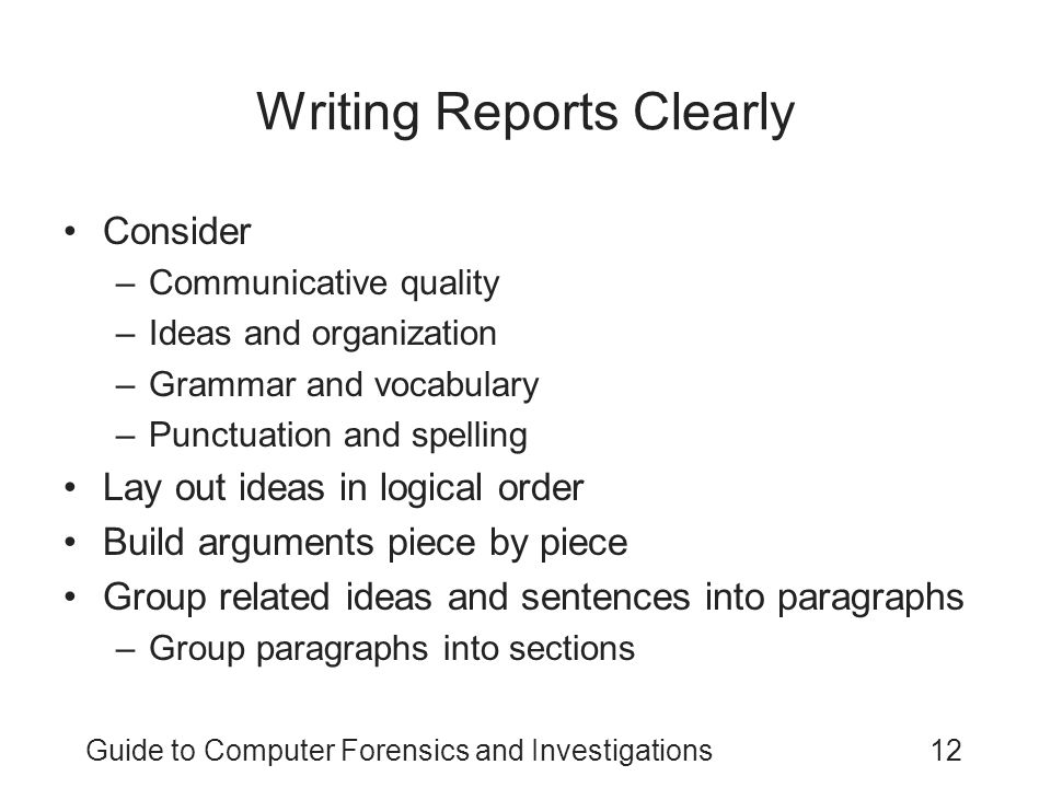 Writing Reports Clearly
