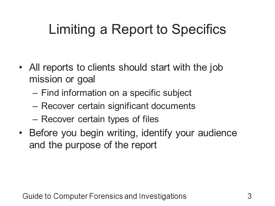 Limiting a Report to Specifics