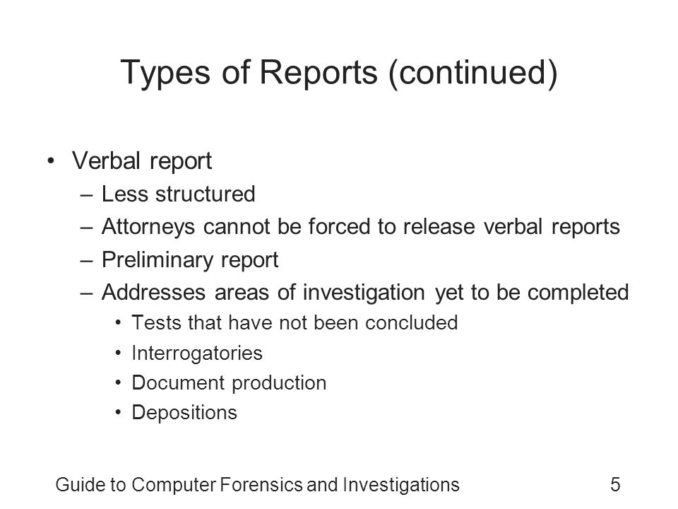 Types of Reports (continued)