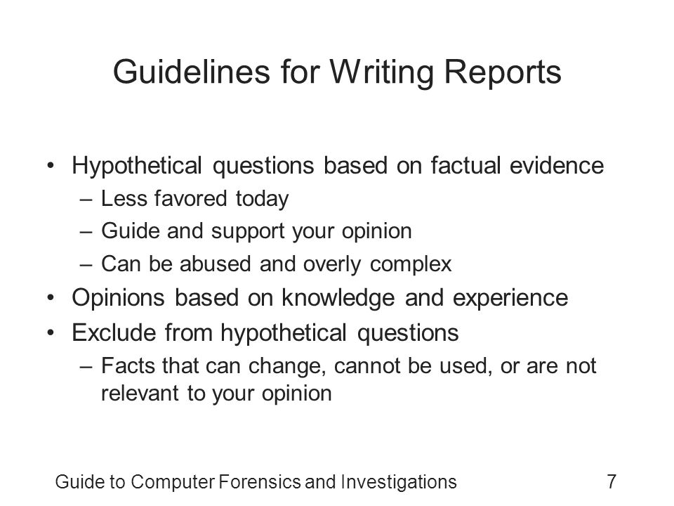 Guidelines for Writing Reports