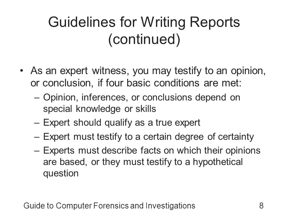 Guidelines for Writing Reports (continued)
