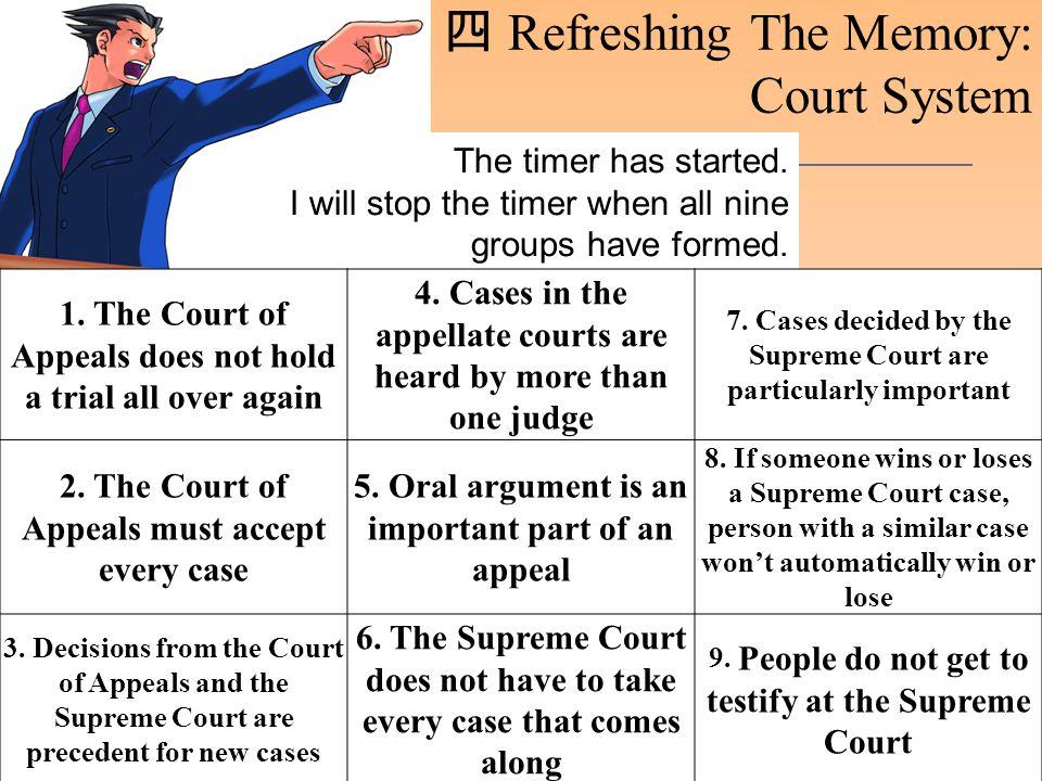四 Refreshing The Memory: Court System