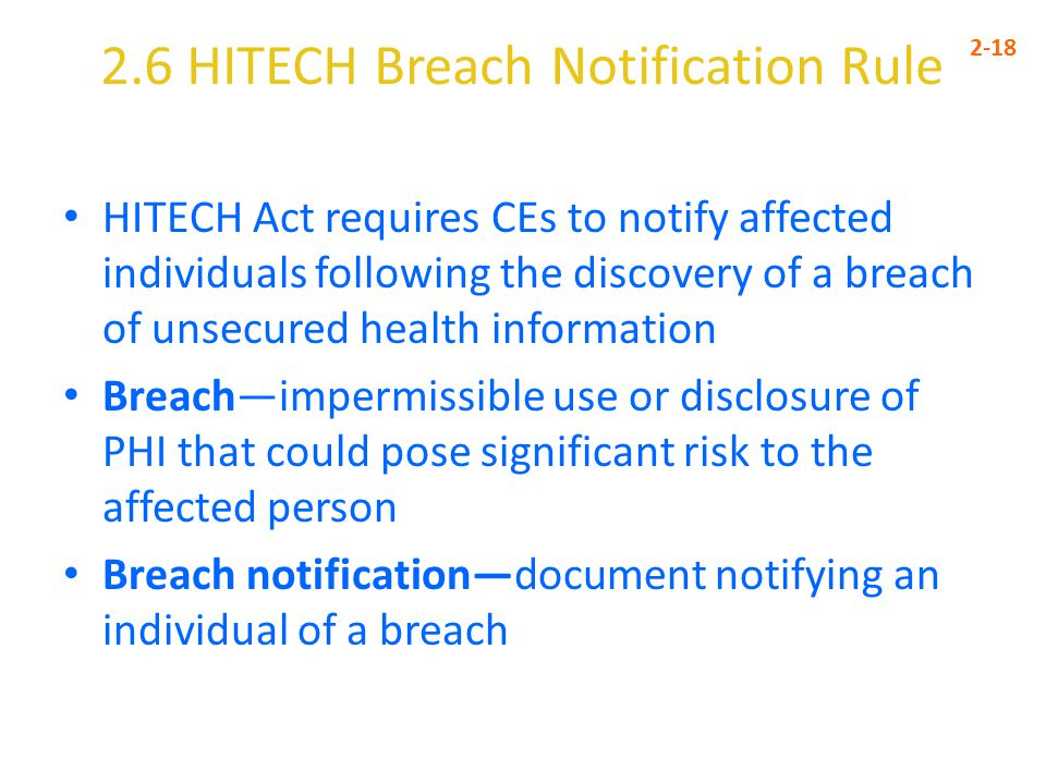 2.6 HITECH Breach Notification Rule