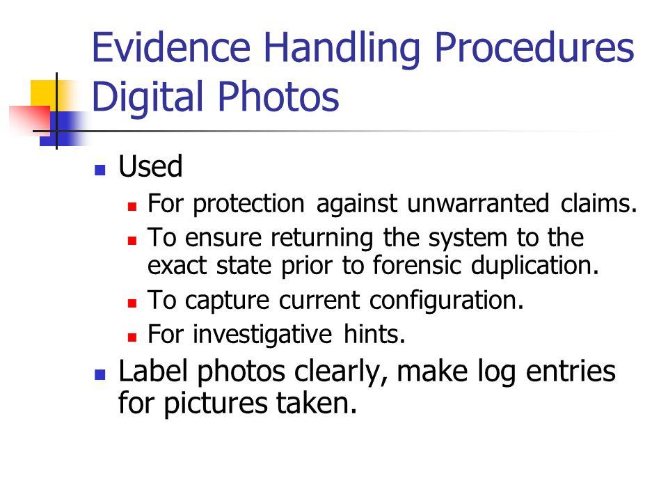 Evidence Handling Procedures Digital Photos