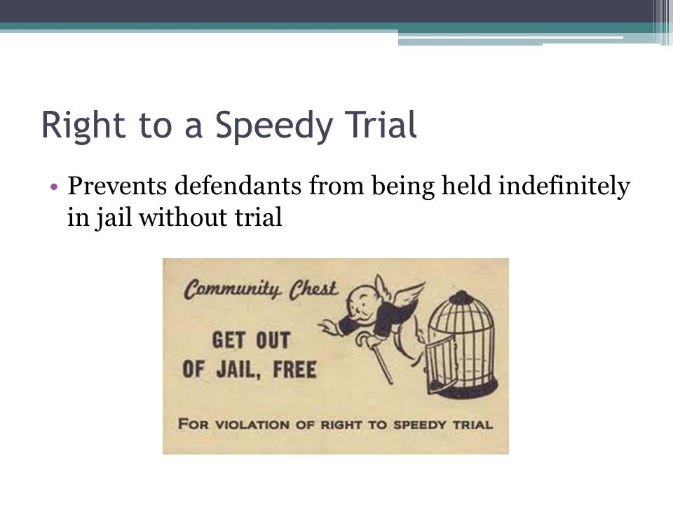 Right to a Speedy Trial Prevents defendants from being held indefinitely in jail without trial