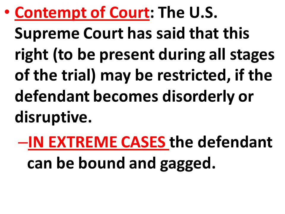 Contempt of Court: The U. S