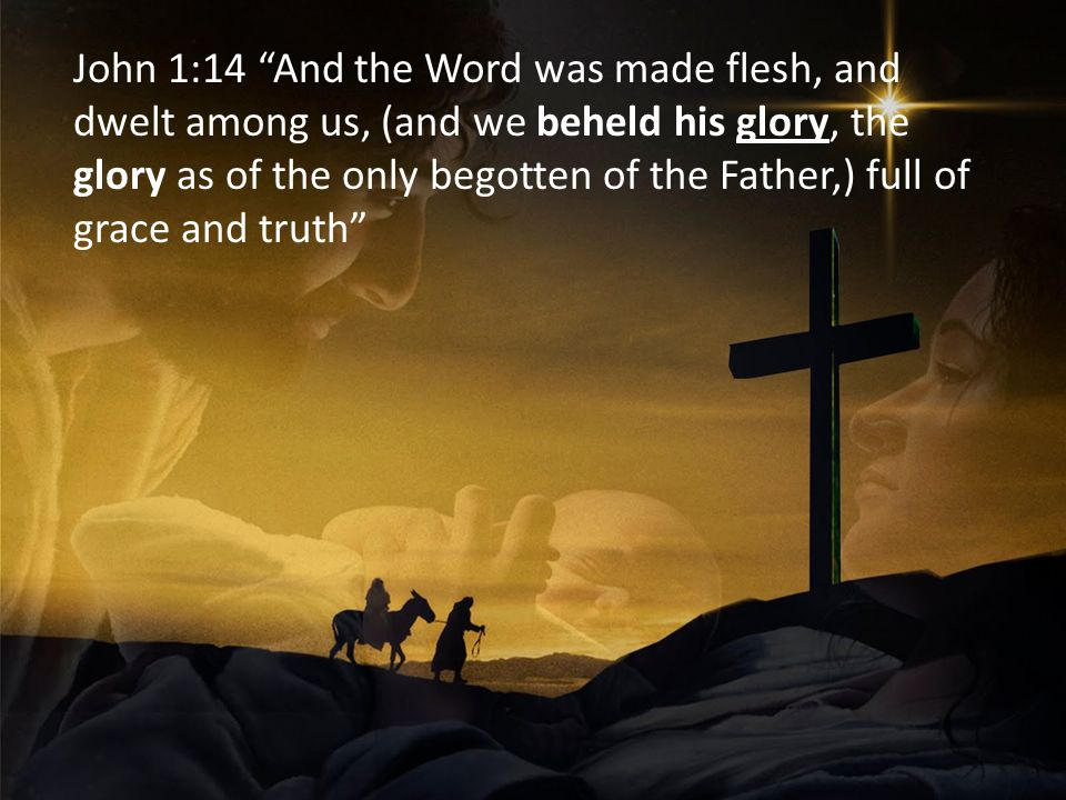 John 1:14 And the Word was made flesh, and dwelt among us, (and we beheld his glory, the glory as of the only begotten of the Father,) full of grace and truth