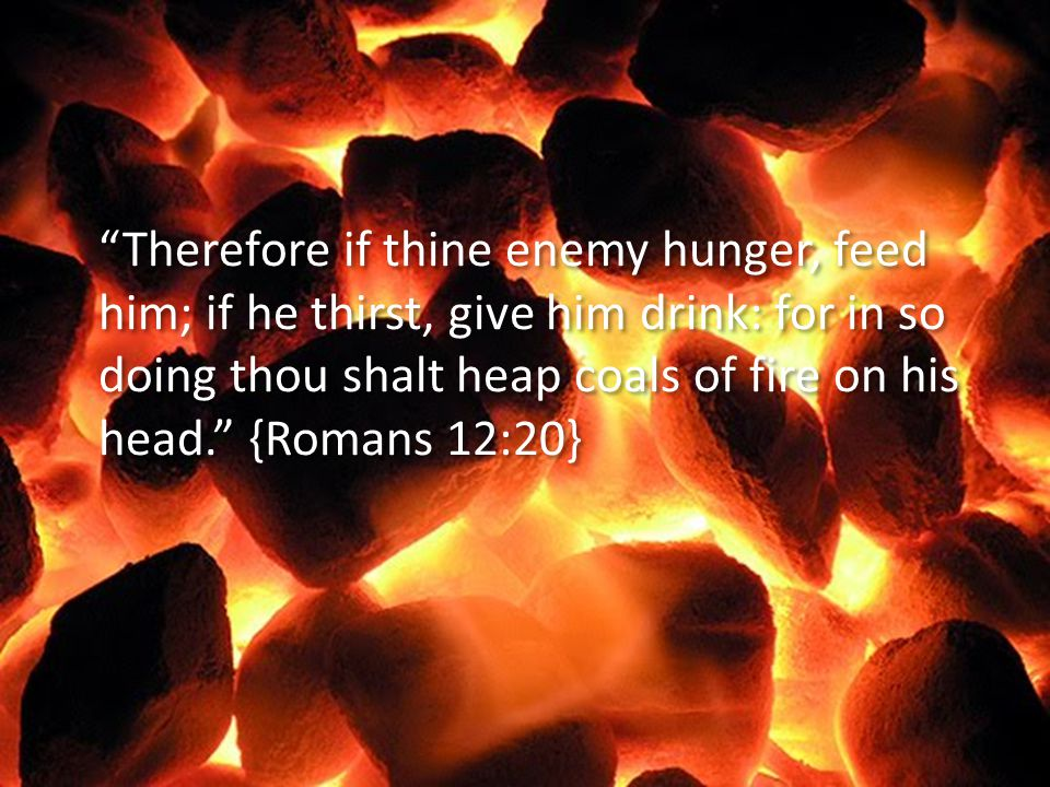 Therefore if thine enemy hunger, feed him; if he thirst, give him drink: for in so doing thou shalt heap coals of fire on his head. {Romans 12:20}