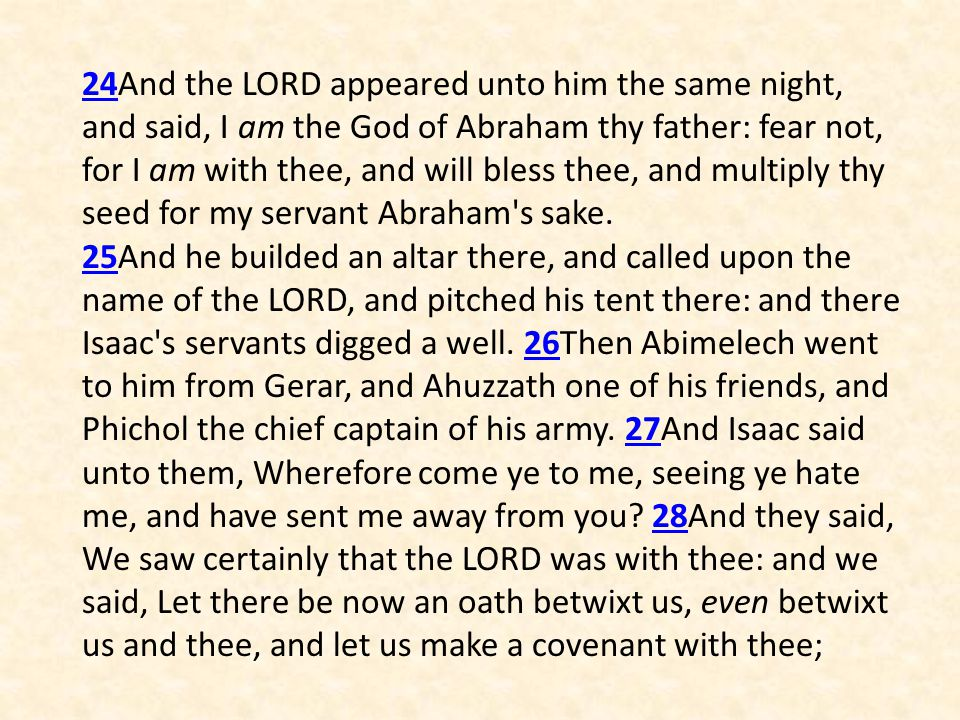 24And the LORD appeared unto him the same night, and said, I am the God of Abraham thy father: fear not, for I am with thee, and will bless thee, and multiply thy seed for my servant Abraham s sake.