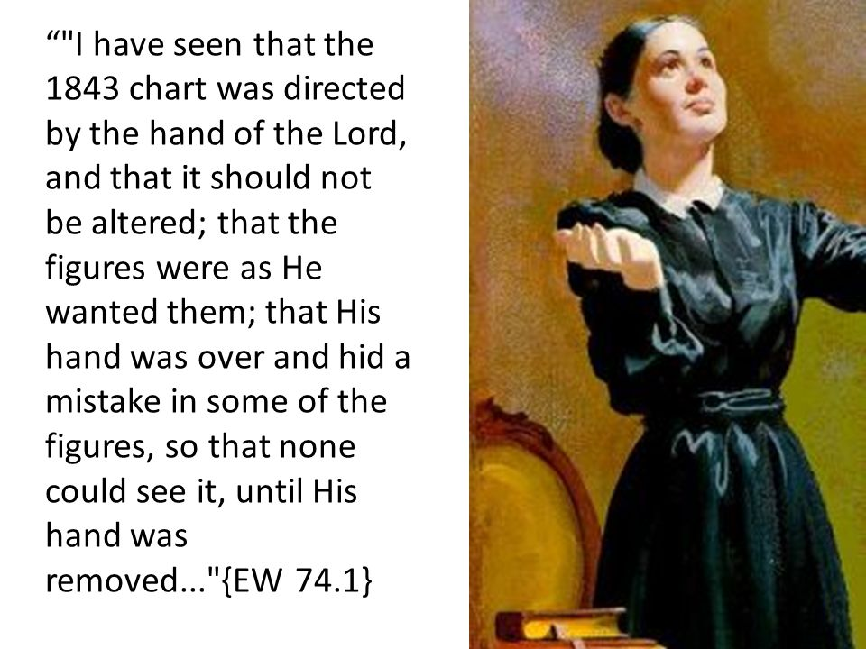 I have seen that the 1843 chart was directed by the hand of the Lord, and that it should not be altered; that the figures were as He wanted them; that His hand was over and hid a mistake in some of the figures, so that none could see it, until His hand was removed... {EW 74.1}