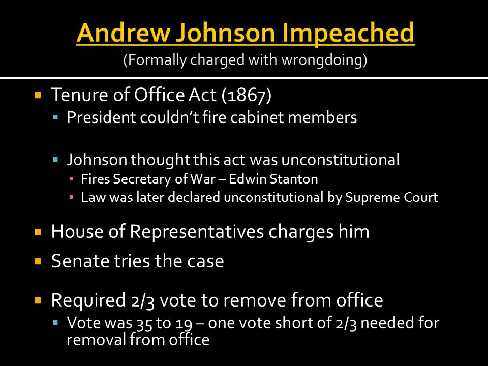 Andrew Johnson Impeached (Formally charged with wrongdoing)