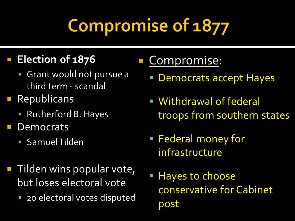Compromise of 1877 Compromise: Election of 1876 Democrats accept Hayes