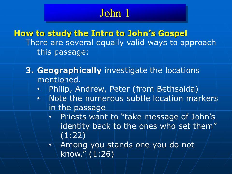 John 1 How to study the Intro to John's Gospel