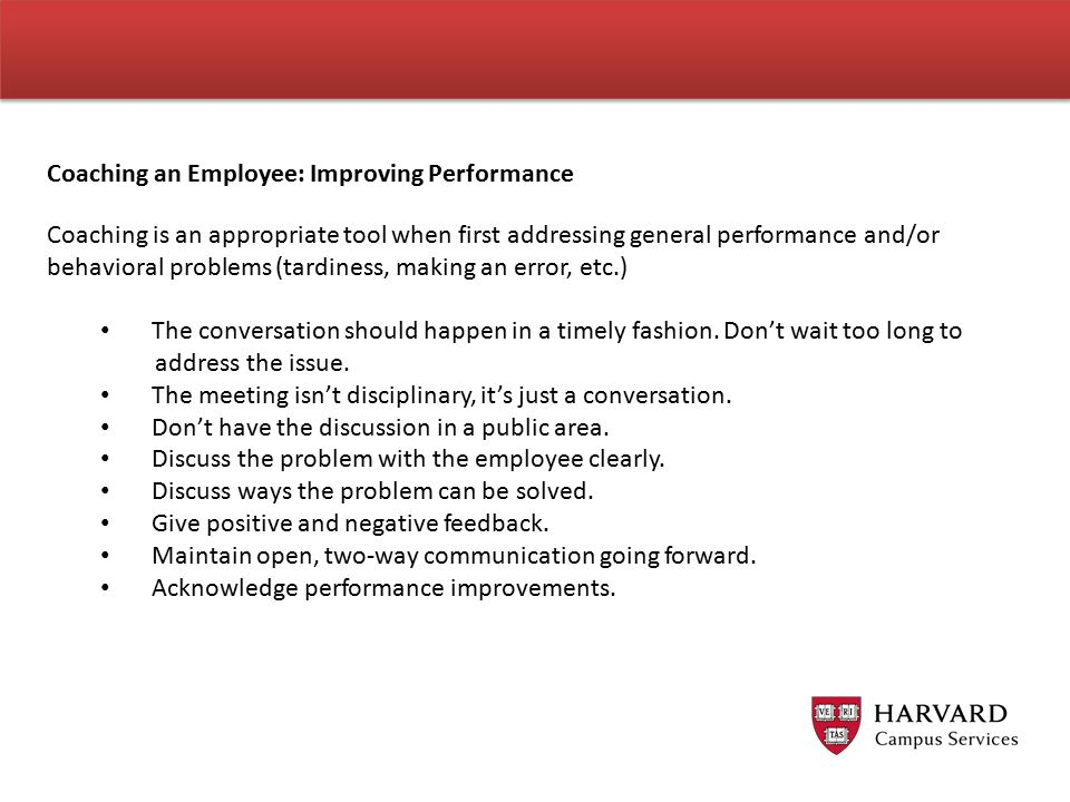Coaching an Employee: Improving Performance