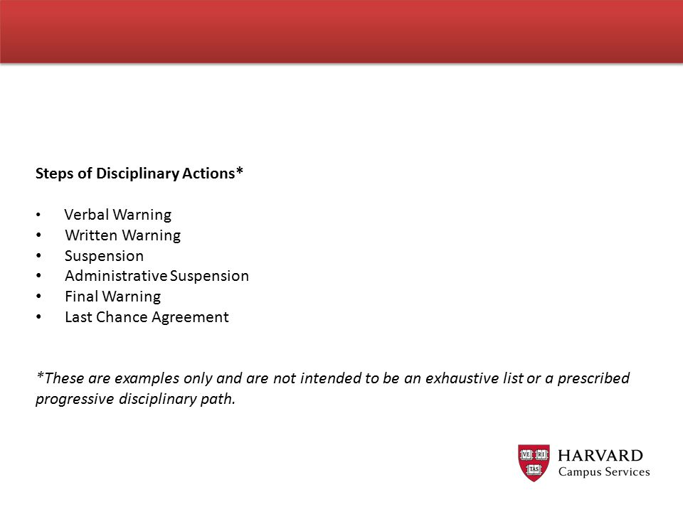 Steps of Disciplinary Actions*