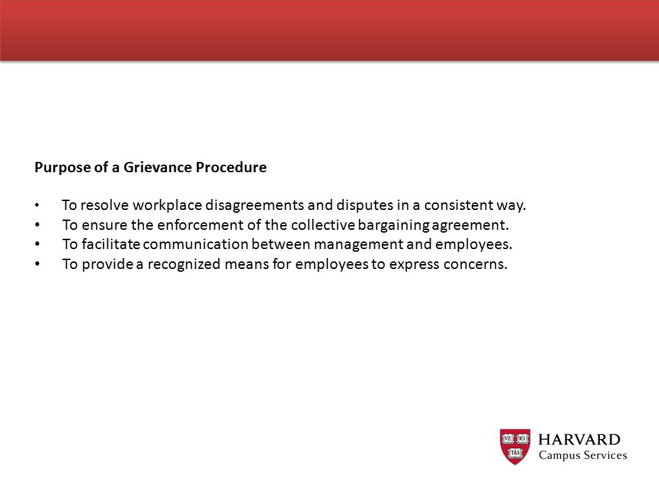 Purpose of a Grievance Procedure