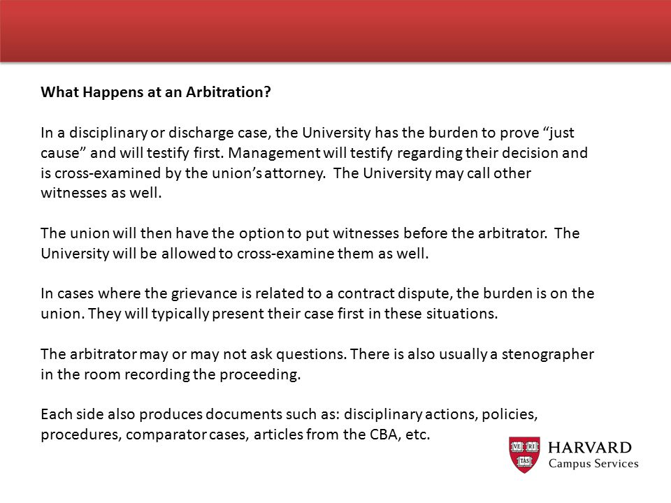 What Happens at an Arbitration